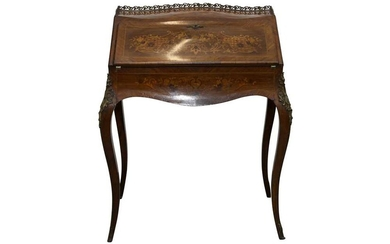 A FRENCH KINGWOOD AND MARQUETRY BUREAU DE DAME
