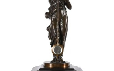 A FRENCH PATINATED SPELTER AND GILT BRASS MOUNTED BELGE NOIR MARBLE FIGURAL MYSTERY MANTEL CLOCK