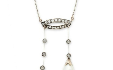 A NATURAL PEARL AND DIAMOND NEGLIGEE NECKLACE, EARLY