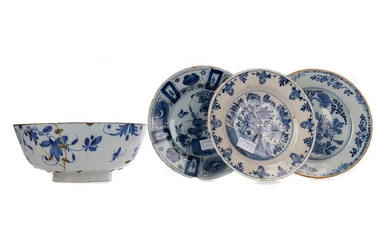A PAIR OF 18TH CENTURY DUTCH DELFT CIRCULAR PLATES AND OTHERS