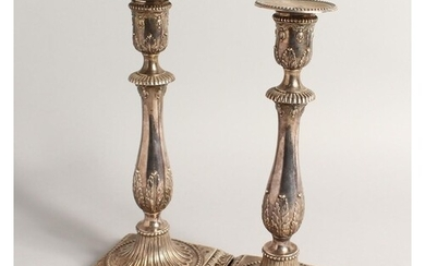 A PAIR OF GEORGE III SILVER CANDLESTICKS London 1780, 10.5in...