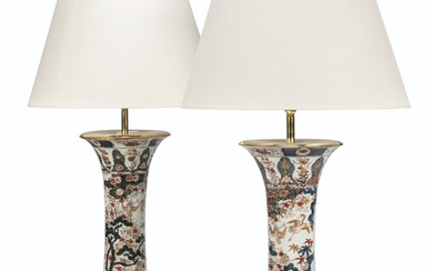 A PAIR OF JAPANESE IMARI TRUMPET VASES, MOUNTED AS LAMPS