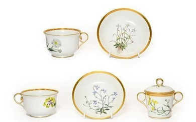 A Pair of Chamberlains Worcester Botanical Breakfast Cups and Saucers,...