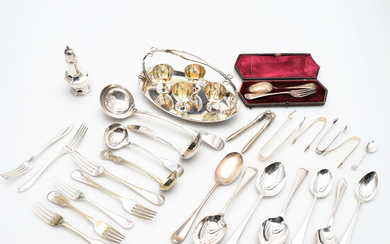 A SILVER PLATED EGG CRUET AND OTHER SILVER PLATED WARES.