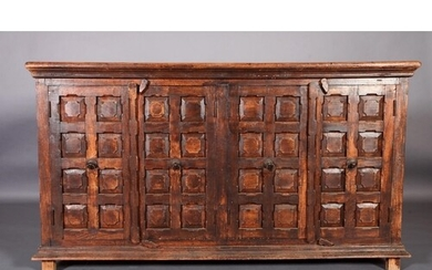 A Spanish side cabinet of four doors c.1970s, each of ten fi...