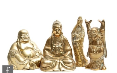 A collection of Chinese gilt metal figures to include Guanyi...
