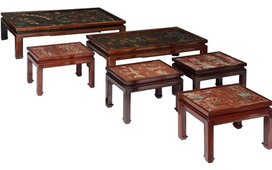 A collection of Oriental-inspired occasional and coffee tables, H 40 - W 60 - 125 - D 35 - 77 cm