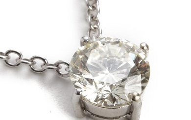A diamond necklace set with a brilliant-cut enhanced diamond weighing app. 2.18 ct., mounted in 18k white gold. L/P1. L. app. 42 cm. – Bruun Rasmussen Auctioneers of Fine Art