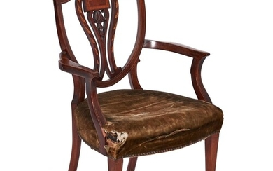 A mahogany and inlaid dining chair, English or Dutch, 19th c...