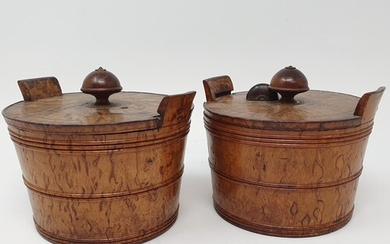 A pair of 19th century burr fruitwood boxes, in the form of ...