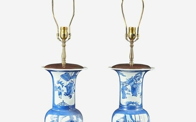 A pair of Chinese blue and white powder-blue vases