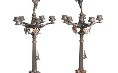 A pair of French patinated and gilt bronze five light candelabra in Neoclassical style