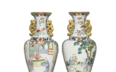 A pair of famille rose-decorated wall vases, Qing dynasty, 18th/19th century   清十八世紀 粉彩人物故事圖壁瓶一對, A pair of famille rose-decorated wall vases, Qing dynasty, 18th/19th century   清十八世紀 粉彩人物故事圖壁瓶一對