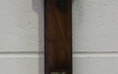 A rare George III Russian interest mahogany stick barometer, the silvered brass rectangular dial wit