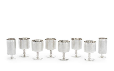 A set of six silver goblets
