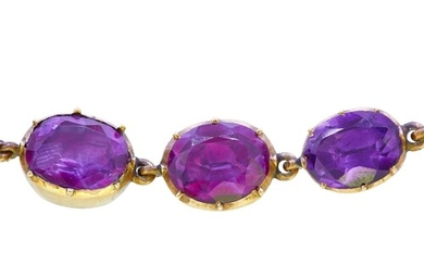 ANTIQUE PAIR OF GEORGIAN FOILED BACK AMETHYST BRACELETS, eac...