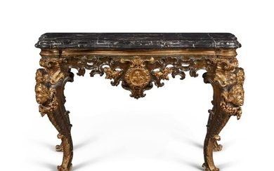 An Italian Rococo Carved, Painted, and Parcel Gilt Console Table, Mid-18th Century