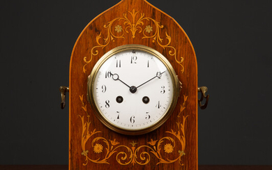 An antique French rosewood cased mantle clock