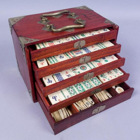 Antique Dovetailed Cased Chinese Mahjong Set