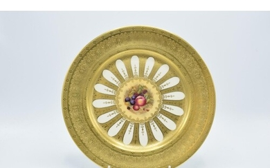 Aynsley heavily guilded Orchard Gold cabinet plate, 27cm dia...