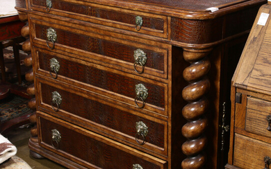 Baroque style leather mounted chest