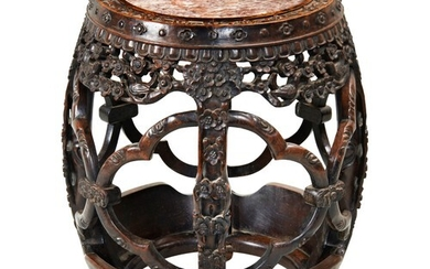 CARVED HARDWOOD MARBLE INSET DRUM STOOL QING DYNASTY, 19TH ...