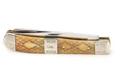 """Case """"Trapper"""" Engraved Bone Handle Two Blade Stainless Steel Pocket Knife"""