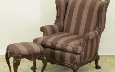 Chippendale Style Upholstered Wing Chair/Ottoman
