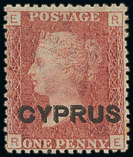 Cyprus 1880 (Apr.) overprint on Great Britain 1d. red, Plate 218, RE, variety overprint double...