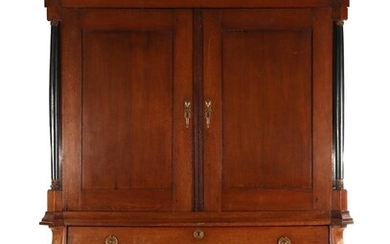 (-), Oak Drents cabinet with curved hood and...