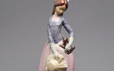 FIGURE, porcelain, young lady with dog, Nao, Spain, 1900s / 2000s.