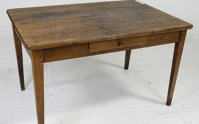 French Oak Farm Table with a Drawer & Tapered Legs