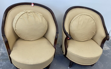 GEORGIAN STYLE CARVED MAHOGANY CRESCENT-BACK UPHOLSTERED LOVESEAT WITH PAIR MATCHING...