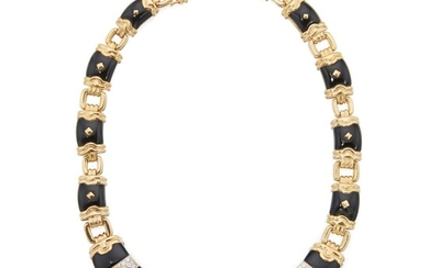 Gold, Onyx and Diamond Necklace