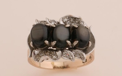 Gold ring with obsidian and diamond