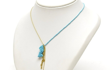 Golden necklace with turquoise, design & execution Irene Gonzales, in...