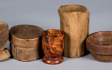 Group of woodenware, to include a burl bowl, etc.