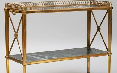 Louis XVI Style Brass-Mounted Marble Two-Tier É