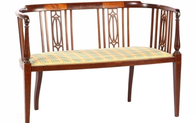 (-), Walnut with burr walnut bench with upholstered...