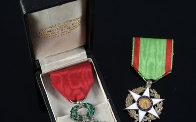 ORDER OF THE LEGION OF HONOUR (France). Knight's badge, silver, gold and enamel, with red moiré silk taffeta ribbon, preserved in its original case. The Agricultural Merit Medal (1883) is attached, with ribbon. H. : 6 cm - L. : 3,5 cm.