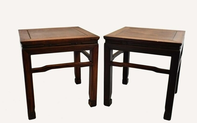 PAIR OF CHINESE HONG-MU LOW TABLES