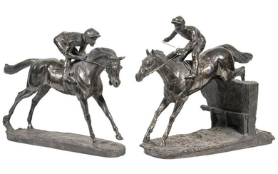 PR SILVER COATED HORSE RACING SCULPTURES BY CAMELOT