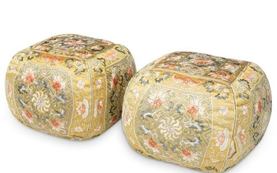 Pair of Chinese Imperial Yellow Silk Arm Rest Pillows