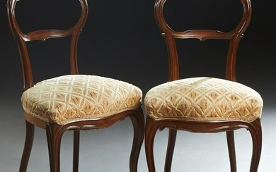 Pair of French Louis XV Style Carved Walnut Side