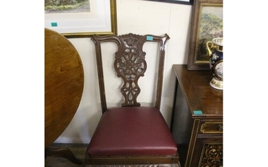 Pair of Georgian Revival Mahogany Occasional Chairs in Chipp...