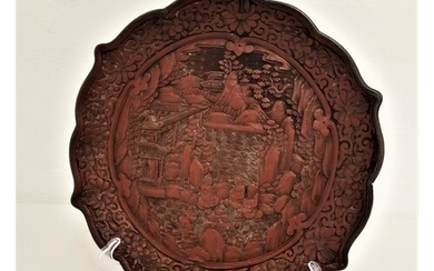 QUING DYNASTY CINNABAR LACQUERED QUADRAFOIL DISH carved in r...