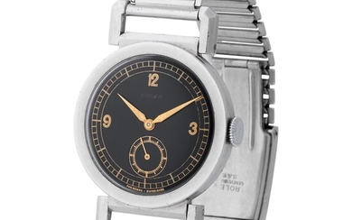 Rolex. Attractive and Early Round-shape Wristwatch in Steel, Reference 2734, With Black Deco-Style Dial and Mobile Hinged Lugs