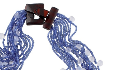 SAPPHIRE AND CALCHEDONY NECKLACE WITH BAKELITE CLASP