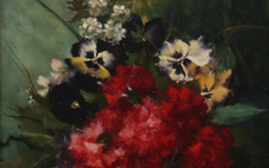 SPANISH SCHOOL, 20TH CENTURY. Carnations and pansies.