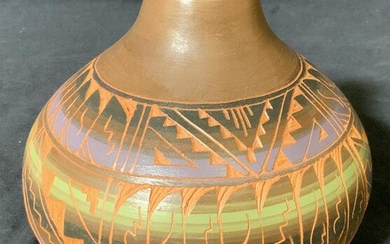 Signed Terracotta Hand Painted Vase